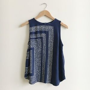 Boden Navy Blue Dot Corner Sleeveless Top